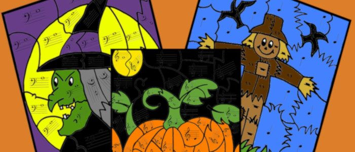 Free Halloween Color By Note Music Theory Pages