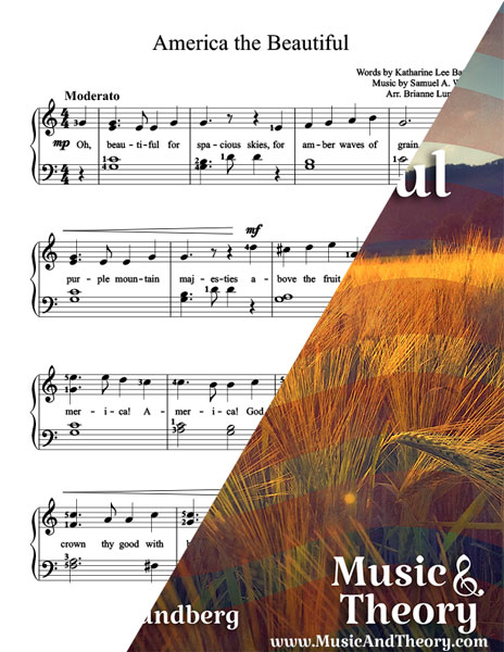 America the Beautiful Piano Sheet Music Sample