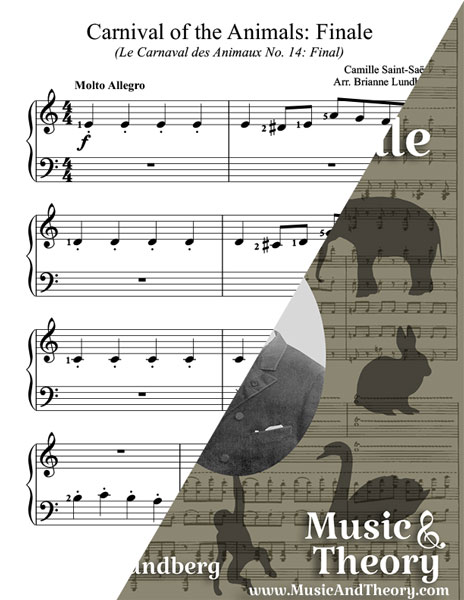 Carnival of the Animals Finale Beginner Piano Sheet Music Sample