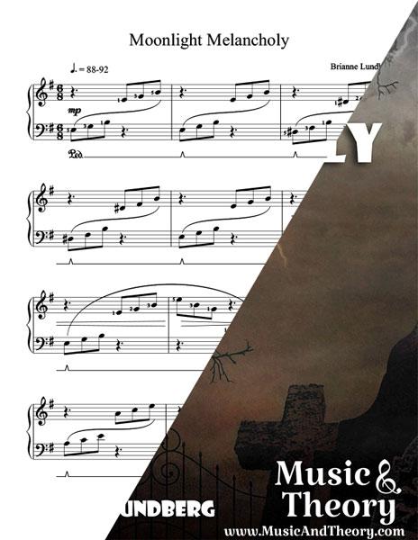 Moonlight Melancholy Halloween Piano Sheet Music Sample