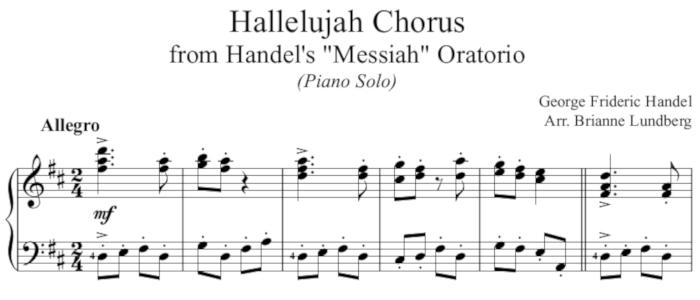 Hallelujah Chorus Piano Solo for Intermediate Level